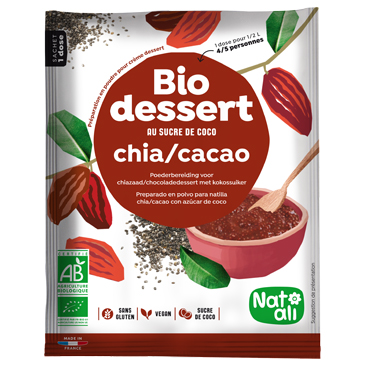Préparation en poudre BIO au sucre de coco pour crème dessert chia cacao - sachet 70g
