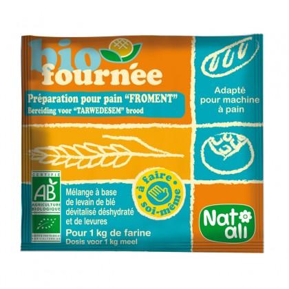 Aide culinaire BIO en poudre à base de levain de blé dévitalisé déshydraté et de levures pour confection de pain - sachet 35g