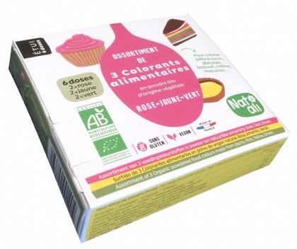 Assortiment de 3 colorants alimentaires en poudre BIO d'origine végétale.